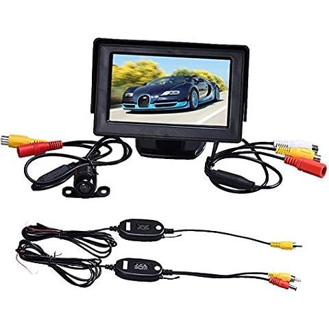 Malloom 4.3 pulgadas TFT LCD Monitor + Kits inalámbricos aparcamiento Cámara de reserva del revés del coche retrovisor
