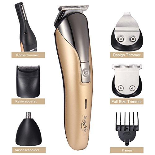 Rasierer, LuckyFine Bartschneider Trockenrasierer Reparatur Augenbraue Messer Nase Haar Maschine 11 in 1 mit Reinigungs Ladestation