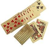 Asixx Carte da poker, 3Types Resistente plastica impermeabile Carte da gioco con carte patinate in lamina d'oro falso in oro forniscono una sensazione di grande tocco(Check)