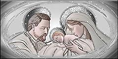 Idea Regalo - Deco Italia Quadro Sacro Capezzale Santa Famiglia The Kiss Ceramic Argento con Glitter | 115 x 62 cm