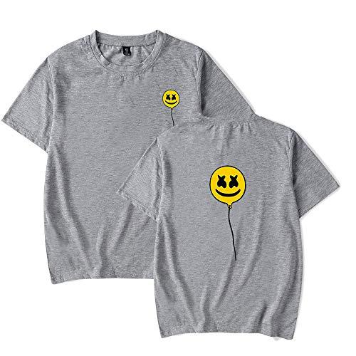 Obst Loom Farben (RUIXIAO Marshmallow Print Kurzarm T-Shirt Herren Loose Casual Street Rundhals Shirt Halbarm Damen Tops Baumwolle Sommer,Gray,XXXXL)