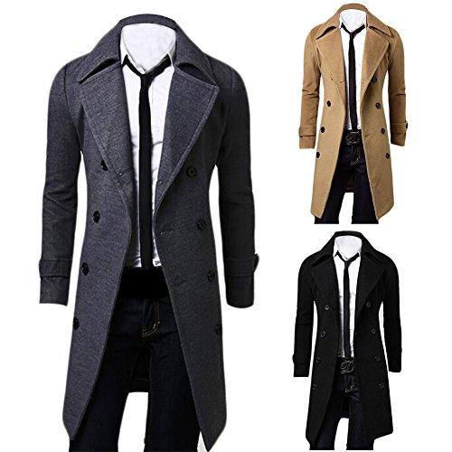 Ming Manteau de Laine à Double Boutonnage Longue Uni Slim Classique Homme Hiver(Taille Asiatique) Noir