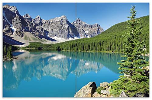 Wallario Herdabdeckplatte/Spritzschutz aus Glas, 2-teilig, 80x52cm, für Ceran- und Induktionsherde, Motiv Tiefblauer See mit Bergpanorama und Wäldern - Kanada