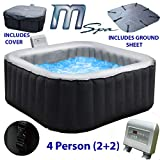 Abreo Inflatable Hot-tub Spa Jacuzzi Outdoor Heated to fit 4 People Includes Protective