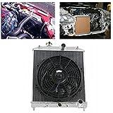 ALLOYWORKS 2Filas Raffreddamento del motore Radiatore in alluminio & 12' Ventola per Honda Civic EK EG 1992-2000 / DEL SOL 1993-1997
