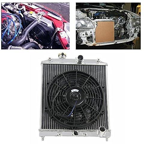 ALLOYWORKS 2 Reihen Aluminium Kühler Motor Kühlung Heizkörper + 12'' Ventilator für 1992-2000 Honda Civic EK EG / 1993-1997 DEL SOL