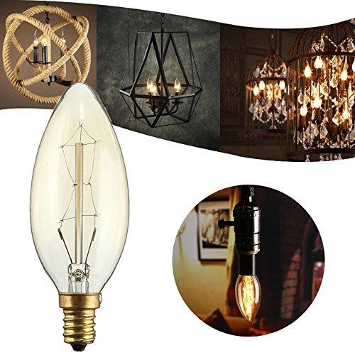 E14 Edison Glühbirne, 6x Elfeland Vintage Kerzenbirne 25W Antike Deko Glühbirne -