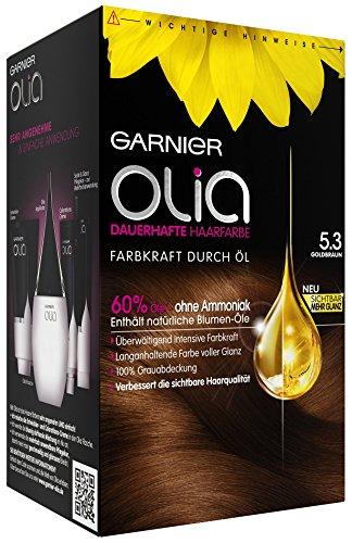 Garnier Olia Haar Coloration Goldbraun 5.3, Färbung für Haare enthält 60% Blumen-Öle für intensive Farbkraft - Ohne Ammoniak - 3er Pack (3 x 1 Stück)