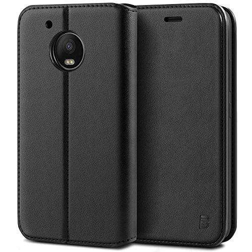 BEZ® Hülle für Moto G5 PlusHülle, Handyhülle Kompatibel für Motorola Moto G5 PlusTasche, Case Schutzhüllen aus Klappetui mit Kreditkartenhaltern, Ständer, Magnetverschluss, Schwarz