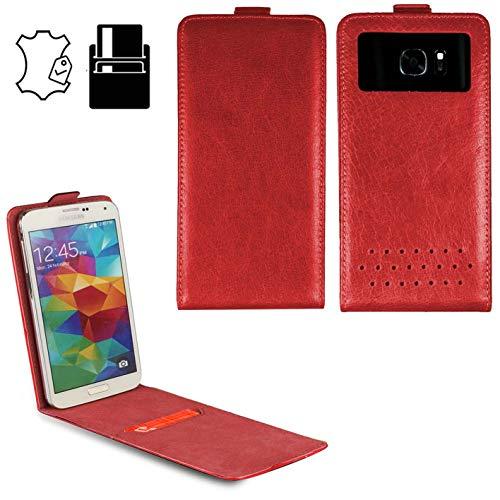 Handy Schutz Hülle | für HP Elite x3| Slim Flipstyle mit Magnetverschluss | HQ Echt Leder | - Flip Nano XL Leder Rot