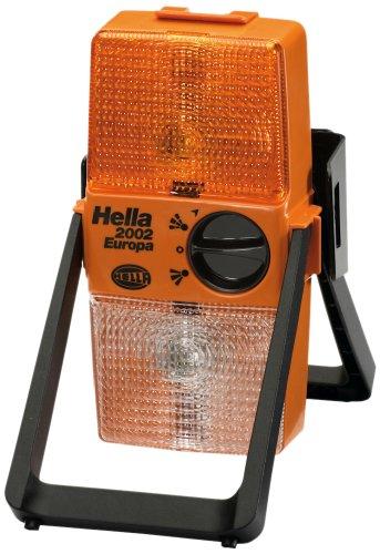 Hella 2XW 003 146-001 Warnleuchte Modell 2002 Europa, kombinierte Sicherheits-Warnblink-und Montageleuchte mit Befestigungshalter, Lichtscheibe gelb/gelb