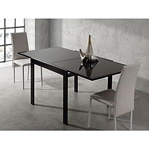 EXIT Table Extensible Noire 90/180cm en verre