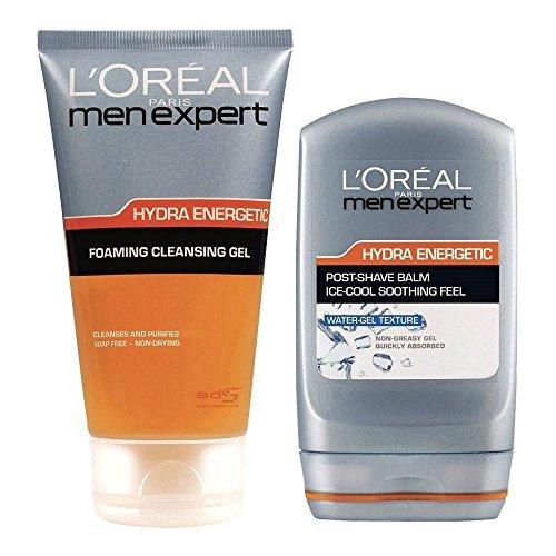 L'Oréal Paris Kit Uomini Idra Esperto Messaggio Energico Rasatura - Schiuma Gel Detergente + Posta Shave Balm (Confezione da 6)