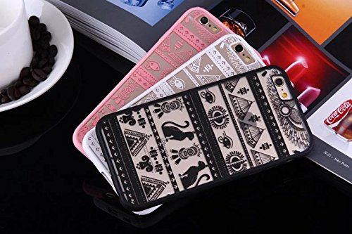 Ägypten Pyramiden Totem Printed Design Schütz PC harte rückseitige Abdeckung Case + TPU Bumper für iPhone SE 5S 6 6S plus ( Color : Pink , Size : IPhone 6S Plus ) White