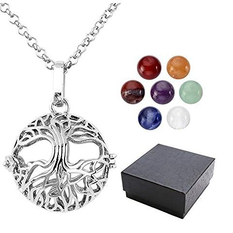 JSDDE 7 Chakra 8mm Gemstone Healing Crystal Ball Reiki Locket Pendant Necklace(Tree of Life Ball)