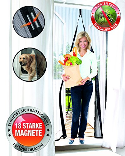 Original Telewelt Insektenvorhang - Luftdurchlässiges Fliegengitter schließt automatisch und in Sekundenschnelle - Universaler Fliegenvorhang 100x210cm (Schwarz)