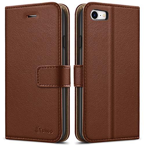 Vakoo Premium PU-Leder Schutzhülle Kompatibel mit iPhone 8 Hülle, iPhone 7 Hülle, Brieftasche Handyhülle für Apple iPhone 8/7 - Braun