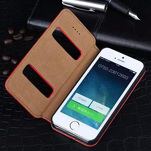 iPhone 5 5g Ansicht Hülle,EVERGREENBUYING - Litschi Style Etui Handyhülle Für iPhone SE mit Sichtfenster - Aufklappbare Echtes Leder Schutzhülle im Flip Cover Style für iPhone 5 / 5S / Se Schwarz Rot