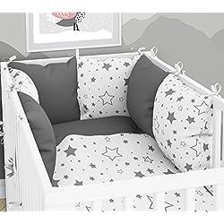 Tour de lit composé de 6coussins avec housses pour lit de bébé 70x140cm