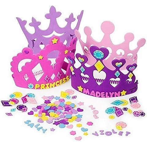 2 Set of Princess Tiara Crown Craft Kits (Includes 24 Foam Tiaras + 800 Pc Princess Craft Shapes) by Fun Express - Tiara Kit Craft