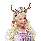 Lively Moments Rentiergeweih mit Blumen auf Haarreif / Oktoberfest / Märchen Kostüm Zubehör