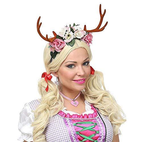 Lively Moments Rentiergeweih mit Blumen auf Haarreif / Oktoberfest / Märchen Kostüm ()