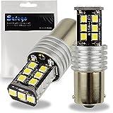 Safego 2x P21W 1156 BA15S LED 2835 15SMD Ampoules Feux de Arrière Recul Clignotant Blanche Pur DC 12V 6000K