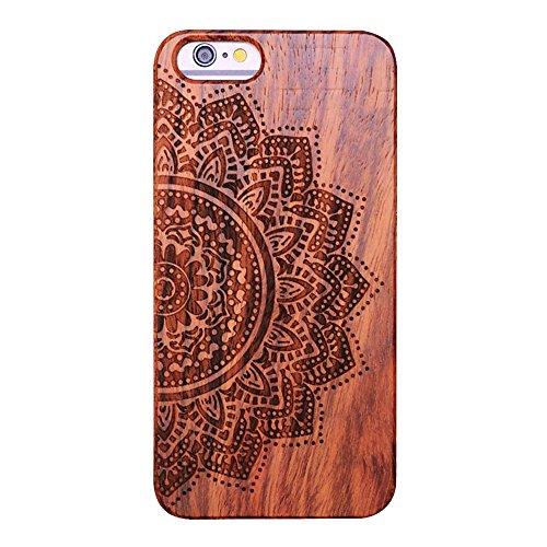 Vero legno Hard Back Wood Custodie per iPhone 7, Skitic Ultra Sottile Case Copertura con Carvings Pattern Design Protettiva Copertina Cover Telefono Pelle Protezione Bumper per iPhone 7 - Lupo Fiore di Mandala