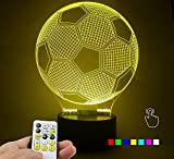 Lampees™ 3D Illusion LED SoccerBall Lamp with 7 colors change and Flashing Effect also comes with remote and USB cable can also use with AA size batteries