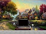 Yosot 3D Tapeten Individuelle Fototapete Wohnzimmer Wandbild Dorf Brücke Herbst Öl Malerei Sofa Tv Hintergrundbild Für 3D-Wand-200Cmx140Cm