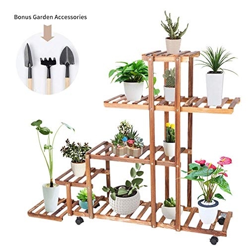 Multi-Layer Wood Plant Rack Outdoor Flower Stand Display Storage Shelf Indoor Pots Holder with 4 Wheels, 3 Garden Accessories and 1 Plant Caddy for Living Room, Balcony and Patio, 95 × 96 × 25 cm