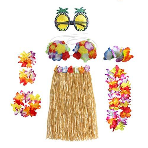 YeahiBaby 8 Stücke Hawaiian Luau Gras Rock Set mit Blume Kranz Halskette Armband BH Ananas Sonnenbrille für Theme Party (Stroh Farbe)