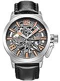 Alienwork Orologio automatico Scheletro meccanico uomo XXL Oversized Progettazione Cuoio grigio nero K003S-03