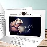 Danksagungskarten Trauer mit Foto, Rosentau 5 Karten, Horizontale Klappkarte 148x105 inkl. weiße Umschläge, Grau