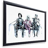 """Original Art Inspired by Tim Burtons Edward Scissorhands, Beetlejuice & Jack Skellington 12"""" x 16"""" Framed Poster Print"""