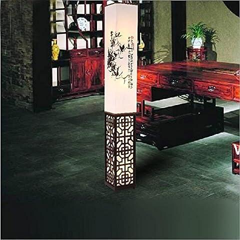 Lampadaire moderne de meubles orientaux en bois pour Shade chambre à coucher lampe de table de vie creuse-out sculpté , 1