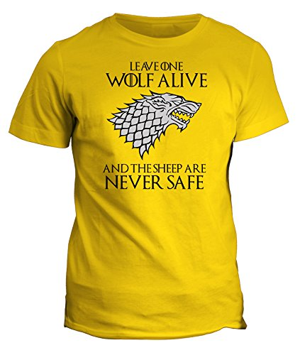 Tshirt Leave one wolf alive and the sheep are never safe - Stark- Game of Thrones - Il Trono di spade - serie tv - in cotone Giallo