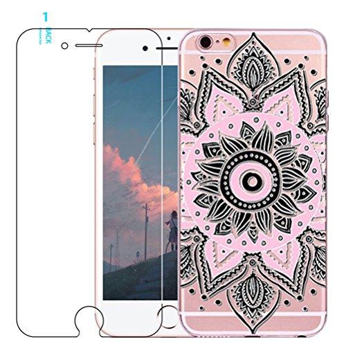 Coque iPhone 5/5S/SE avec film protecteur d'écran en verre trempé, Blossom01Ultra mince Soft Gel coloré Mandala Motif fleur TPU Coque de protection en silicone avec motif de henné pour iPhone SE/5/5S #02