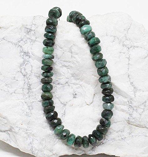 gd Halskette facettierte Perlen rare 7mm bis 8mm Facettiert Smaragd Perlen Halskette-Bereit zu tragen Halskette 45,7cm/Mai Geburtsstein ()