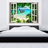 murando - 3D ILLUSIONE OTTICA   210x150 cm 3D ILLUSIONE OTTICA   Carta da parati sulla fliselina   Hit   Carta da parati in TNT   Quadri murali   Fotomurale   Finestra Mare Spiaggia Palma