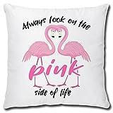 TRIOSK Kissen Flamingo Always Look on The Pink Side, Geschenk Frauen Freundin Dekokissen Bezug inkl. Füllung Reißverschluss, Weiß Rosa, 40x40 cm