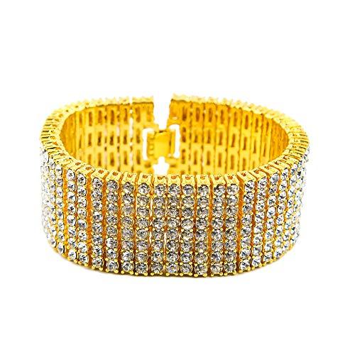 WANZIJING Strass Armbänder für Männer, 8 Row Tennis Armband Iced Out klobige Kette Hip Hop Armband Schmuck Geschenk,Gold -