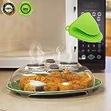 Mikrowellen-Abdeckung, Deckel, magnetisch, mit 1 x Ofenhandschuh, Abdeckung mit Dampföffnungen und Griffen, BPA-frei, spülmaschinenfest. -