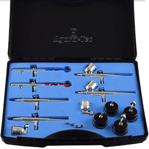 Agora-Tec® Airbrush Pistolen Set AT-AS-01 - 15 tlg. Airbrush-Pistolen-Set mit 6 Pistolen in 4 verschieden Düsengrößen