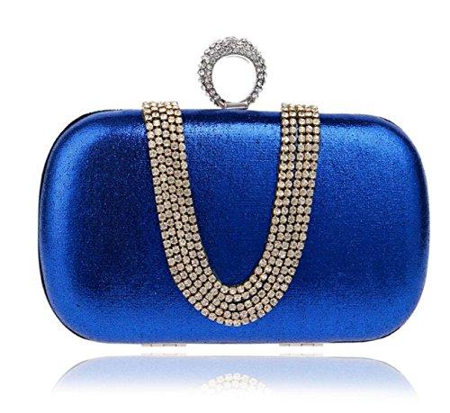 Strawberryer L'Europe Et Les États-Unis Sac De Soirée En Diamant U-type Drill Dîner Forfait Banquet De Mode Ladies Mini Clutch blue