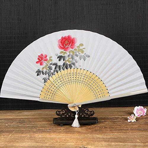 Luxdeoo Handfächer Faltfächer Hand-Painted White Paper Fan Paper Fan Chinese Style String Fan Technology Folding Fan Dance Fan Ancient Wind Female Fan Folding Fan