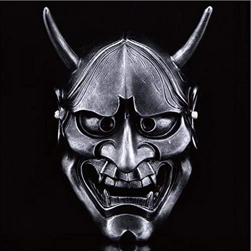 WEN-mask Halloween Horror Kostüm, Geist Kopf Maske Cosplay Samurai Requisiten Geschenke Unisex - Erwachsene, Single Size (Farbe : Silber) (Halloween Geister Kostüme)