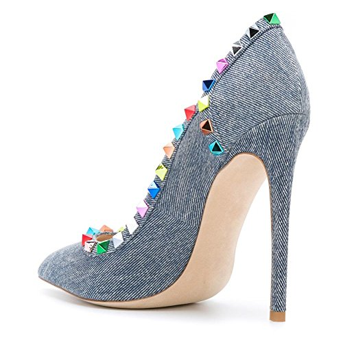 Damen Pumps Spitze Zehen High-Heels Stiletto mit Nietendecoration Blau