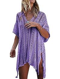 Minetom Mujer Camisolas Pareos Bikini Cover Up Boho Ganchillo Verano Hippie Tunica Vestido De Playa Encaje