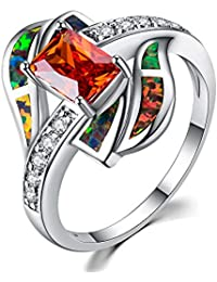 GHY Anillo Moda Moda Anillos de Diamantes Anillos Salvajes Simples,Mandarina,No.6